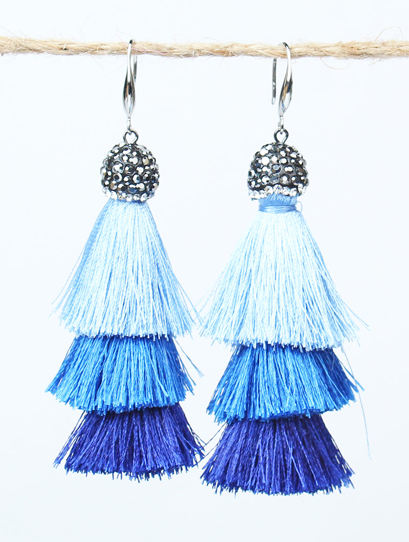 Show Stopper Tassel Earrings, Blue