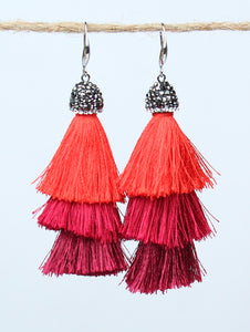 Red Show Stopper Tassel Earrings, Silver