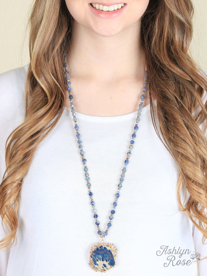 Blue Stone & Sapphire Bead Necklace