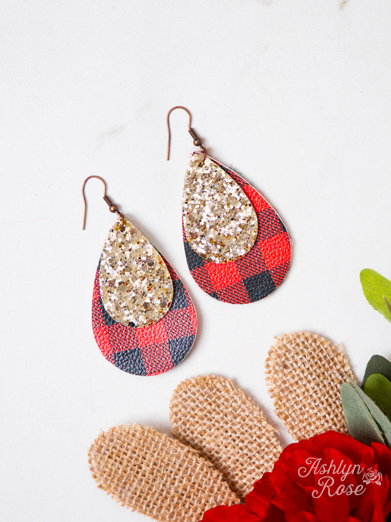 Buffalo Plaid Earrings, Red with Gold Glitter