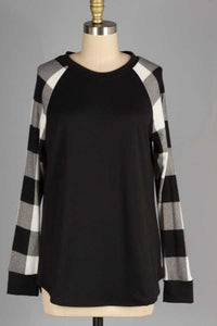 Knit Checker Sleeve Top
