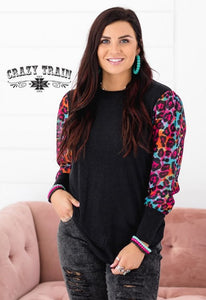 Black Top with Colorful Leopard Sleeves