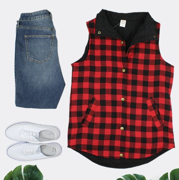 Buffalo Plaid Reversible Vest, Red and Black