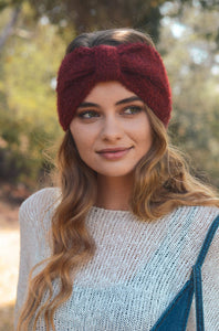 Ultra Soft Mohair Bow Headwrap, Burgundy