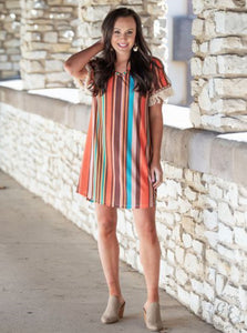 Bali Bliss Striped Dress with Fringe