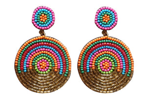 Beaded Circle Earrings, Multi