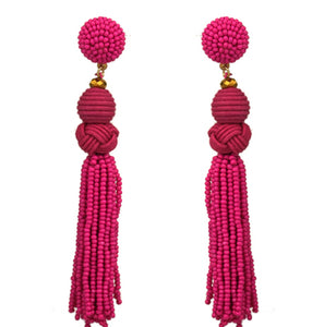 Beaded Tassel Earrings, Fuchsia