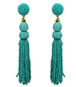 Beaded Tassel Earrings, Turquoise