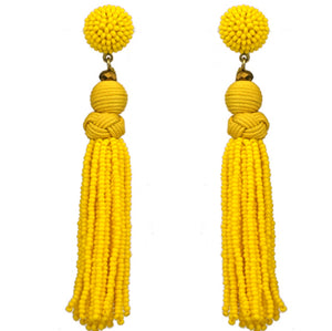 Beaded Tassel Earrings, Yellow