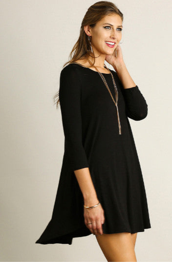 Scoop Neck T-Shirt Dress, Black - brooke + owens