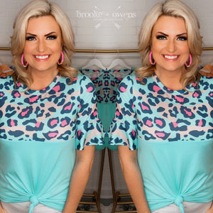 Leopard Colorblock Top, Blue/Pink