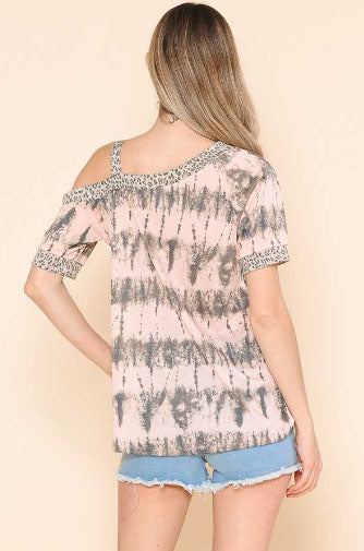 Off The Shoulder Leopard Top, Blush