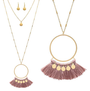 Hoop Fan Fringe Necklace Set, Blush