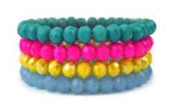 Bracelet Set, Turq/Pink/Yellow