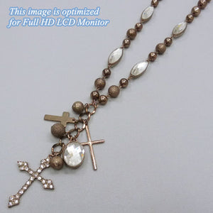 Cross Charm Necklace, Chocolate