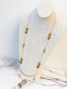 Pineapple Station Long Necklace, Gold