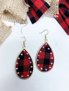 Buffalo Plaid Teardrop Earrings, Red/Black