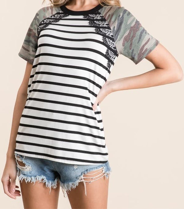 Striped Camo Top with Lace
