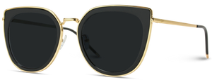 Oversized Cat-Eye Sunglasses, Gold and Black