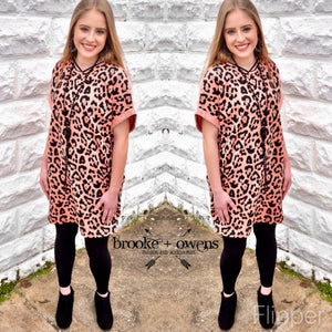 Animal Print Dress With Pockets, Coral