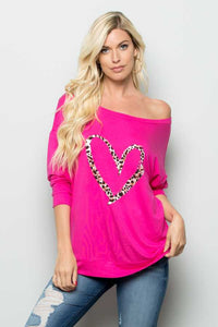 Leopard Heart Off The Shoulder Top