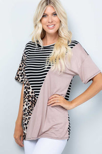Colorblock Leopard and Stripe Top