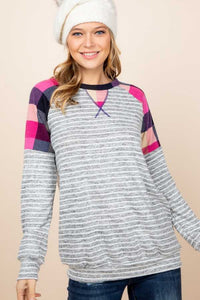 Checker Sleeve Contrast Striped Detail Top