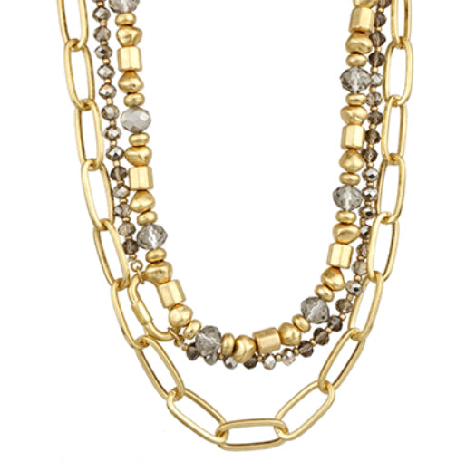 Three Chain Necklace, Gold/Grey
