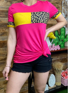 Leopard Colorblock Top, Fuchsia/Yellow
