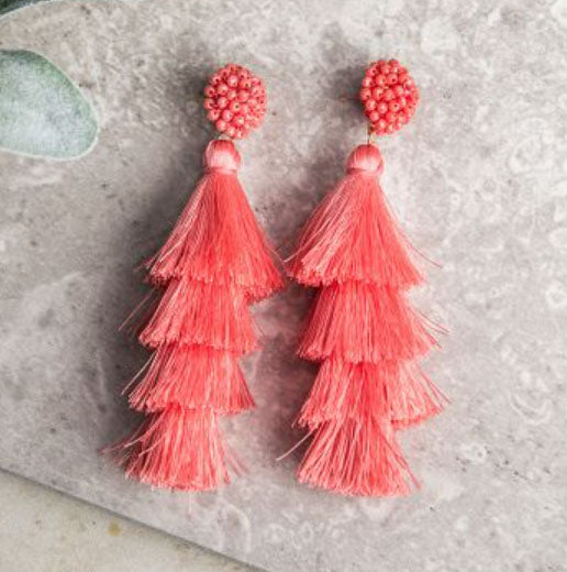 Queen of the Tassel Earrings, Coral