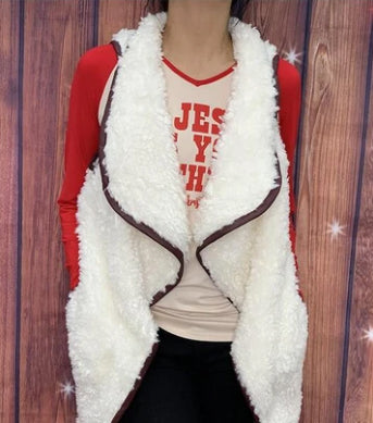 Sherpa Cream Vest with Pockets