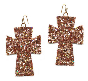 Glitter Cross Earrings, Rose Gold