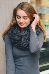 Ultra Soft Chunky Infinity Scarf, Charcoal
