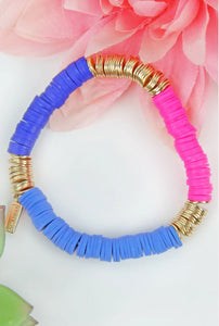 Pink and Blue Disc Bracelet