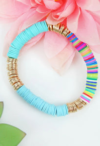 Gold and Mint Disc Bracelet