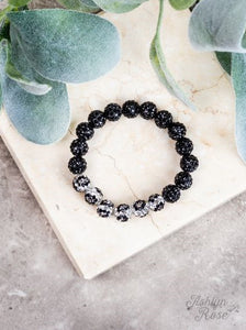 Drop of Glam Stretch Bracelet, Black Leopard
