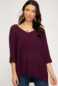 Knitted Sweater, Eggplant