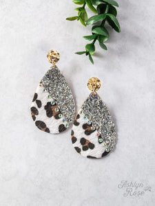 White Leopard and Glitter Teardrop Earrings, Silver