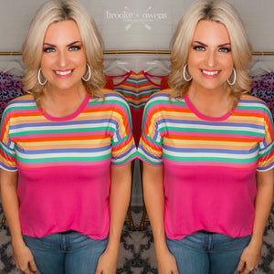 Multi Color Striped and Fuchsia Top