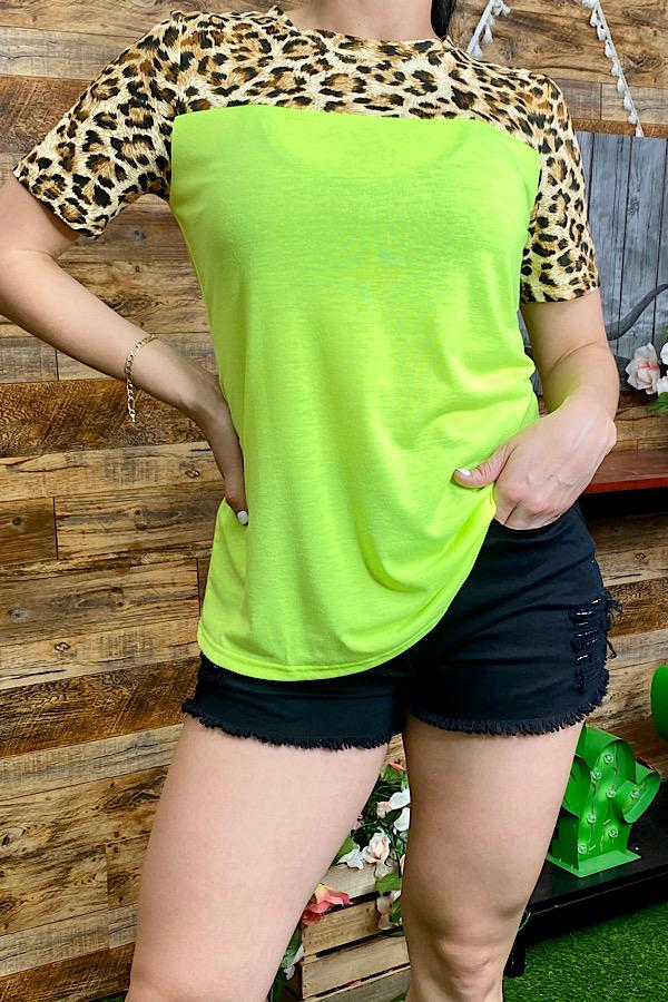 Neon Yellow and Leopard Top