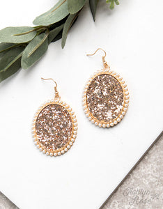 Oval Glitter Earrings, Rose Gold