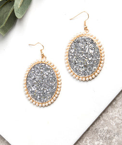 Oval Glitter Earrings, Silver