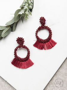 Full of Flair Beaded Fringe Earrings, Maroon