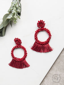 Full of Flair Beaded Fringe Earrings, Red