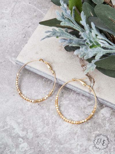 Beaded Hoop Earrings, Gold