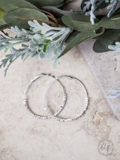 Beaded Hoop Earrings, Silver