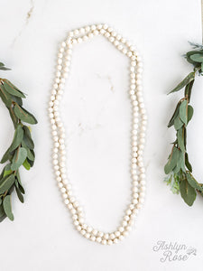 Stone Bead Necklace, White Howlite