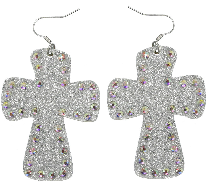 Cross Glitter Earrings, Silver