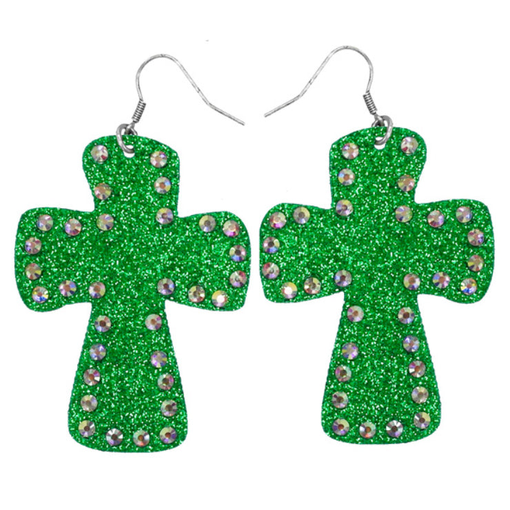 Cross Glitter Earrings, Green