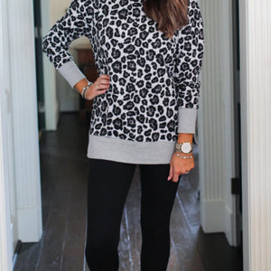Leopard Tunic Top, Grey/Black